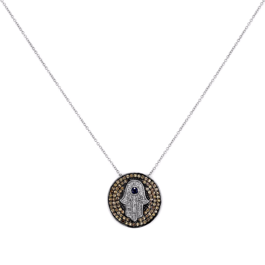 0.50ct Pavé Round Diamonds & Sapphires in 14K Gold Hamsa Hand Medallion Charm Necklace