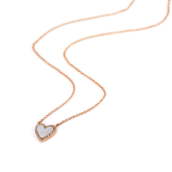 Mother of Pearl with Diamonds in 14K Gold Heart Charm Necklace