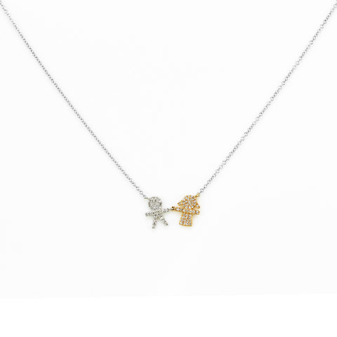 0.15ct Micro Pavé Round Diamonds in 14K Gold Boy & Girl Charm Necklace
