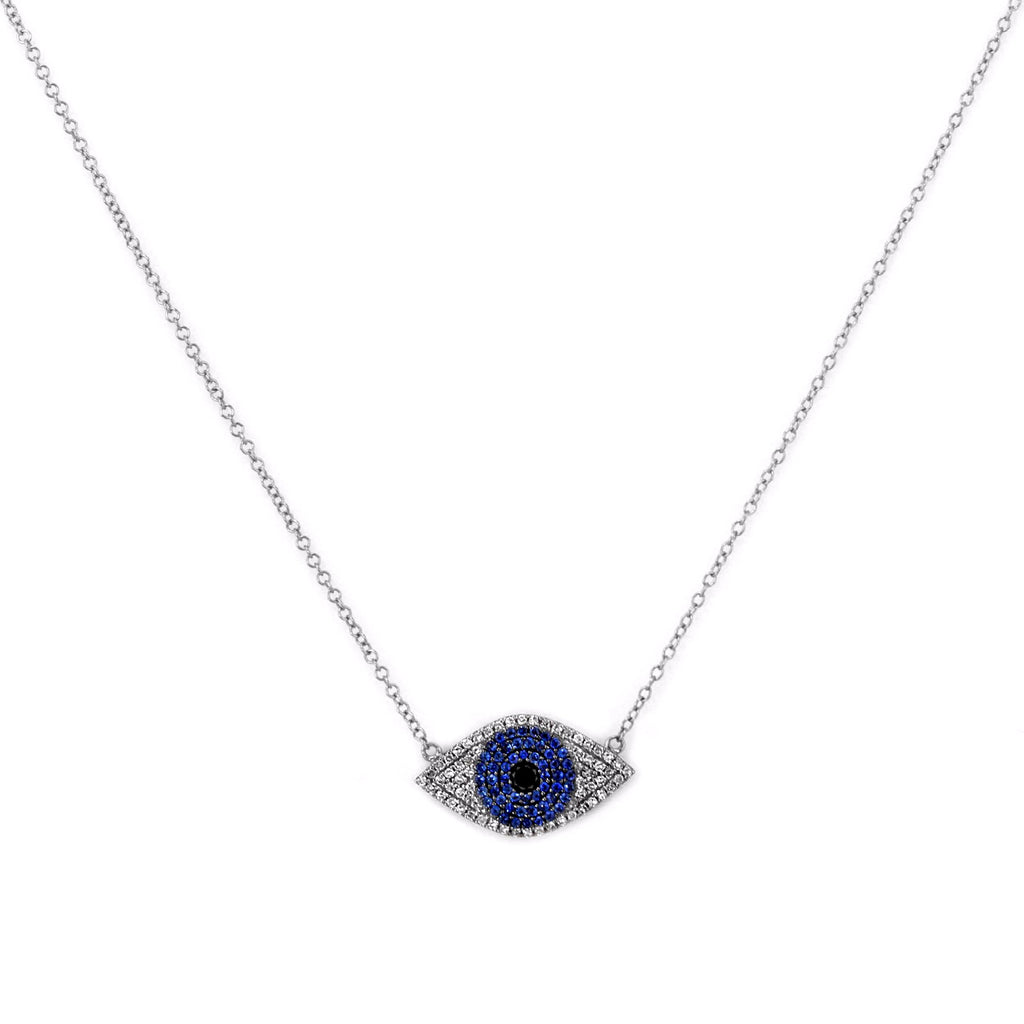 0.43ct Micro Pavé Round Diamonds & Sapphires in 14K Gold Evil Eye Charm Necklace
