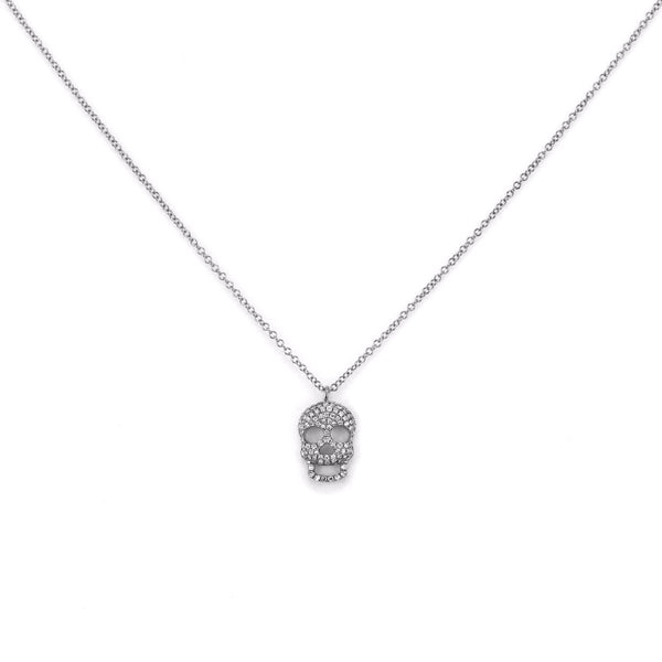0.21ct Micro Pavé Round Diamonds in 14K Gold Skull Charm Necklace