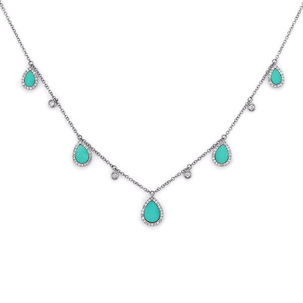 1.50ct Tear Drop Turquoise  with Diamonds in 14K Gold Princess Drop Necklace