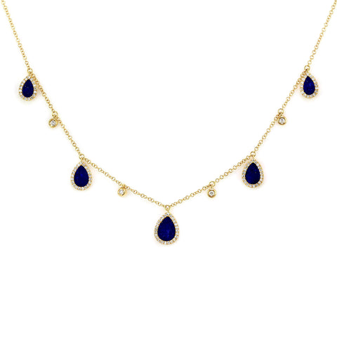 1.50ct Tear Drop Lapis Lazuli  with Diamonds in 14K Gold Princess Drop Necklace