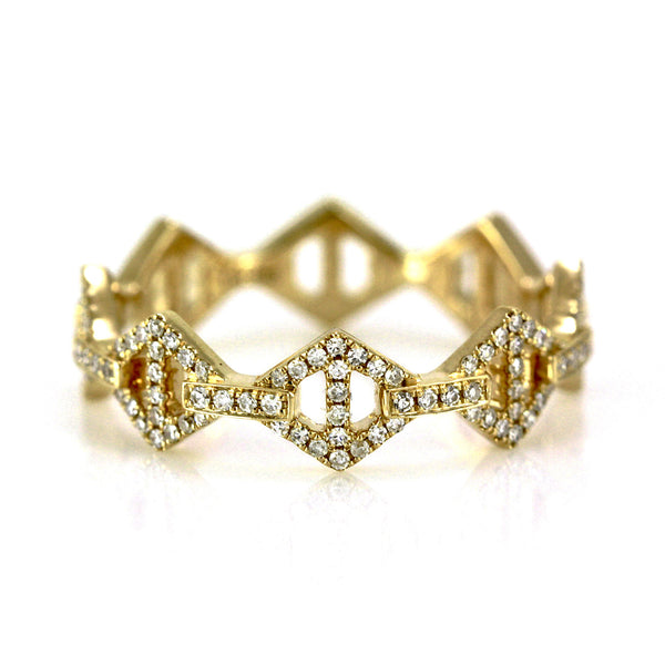 0.26ct Pavé Round Diamonds in 14K Gold Mini Rhombus Anchor Link Band Ring