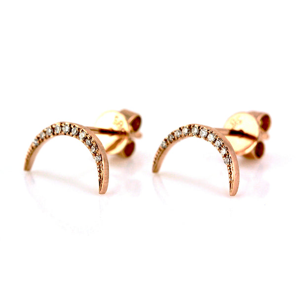 0.07ct Pavé Round Diamonds in 14K Gold Crescent Moon Stud Earrings