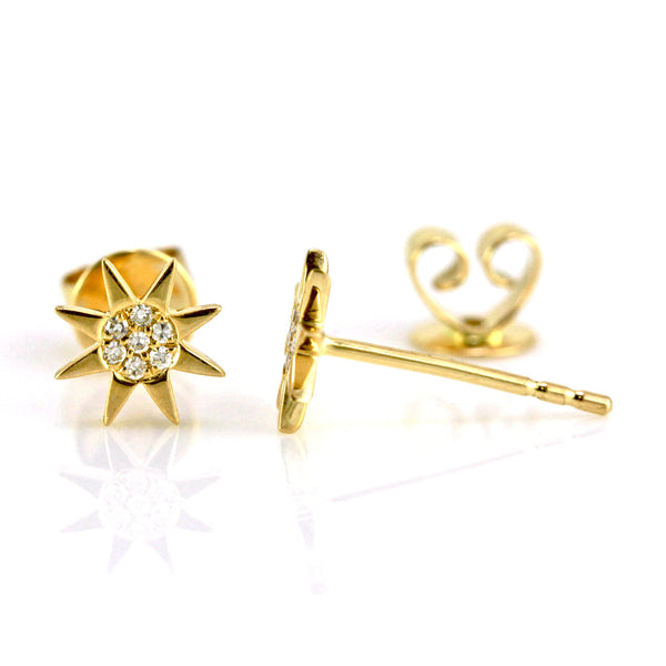 0.05ct Micro Pavé Diamonds in 14K Gold Mini Mini Sun Burst Stud Earring