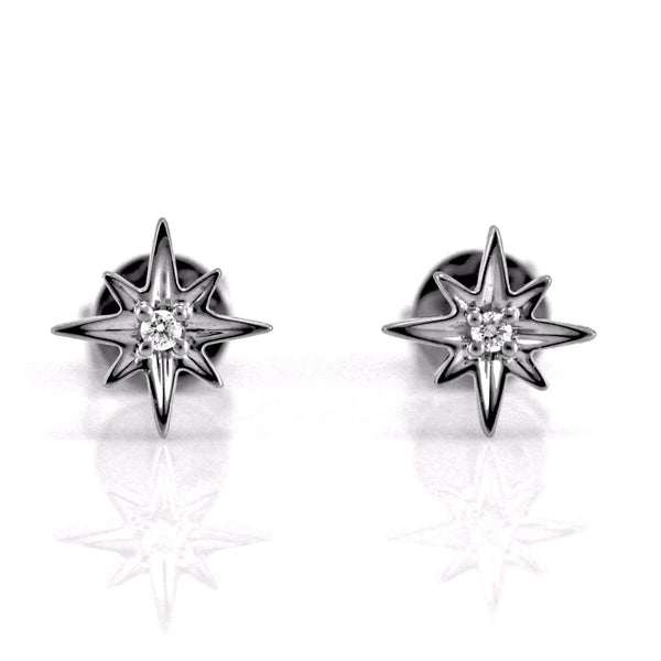0.03ct Pavé Round Diamond in 14K Gold Mini North Star Stud Earrings
