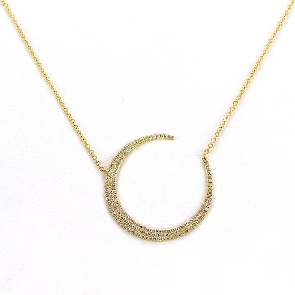 0.38ct Pavé Round Diamond in 14K Gold Large Crescent Moon Pendant Necklace