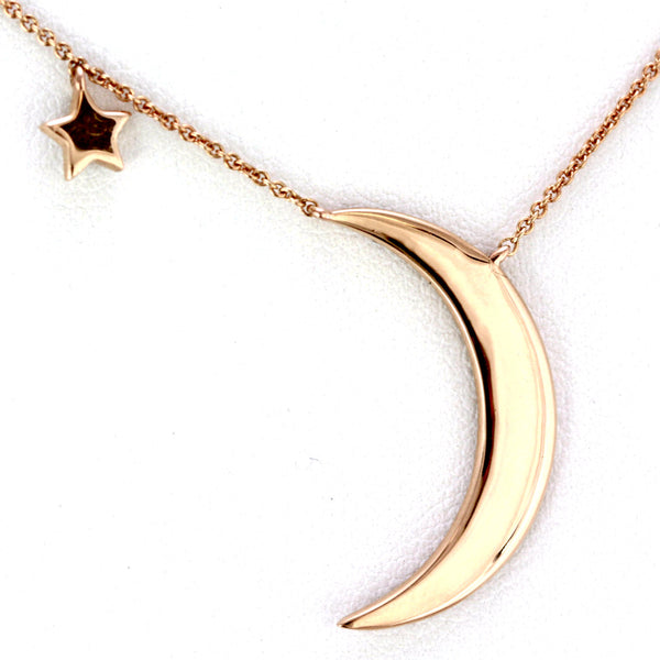 0.33ct Pavé Round Diamonds in 14K Gold Crescent Moon & Star Charm Necklace