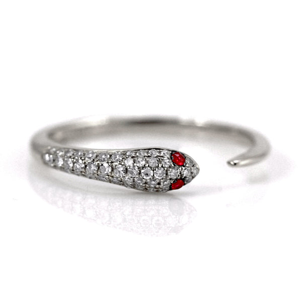 0.20ct Pavé Diamond & Ruby Eye in 14K Gold Snake of Slytherin Cuff Ring