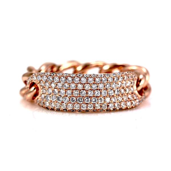 0.74ct Pavé Diamond in 14K Gold Concaved ID Curb Link Band Ring