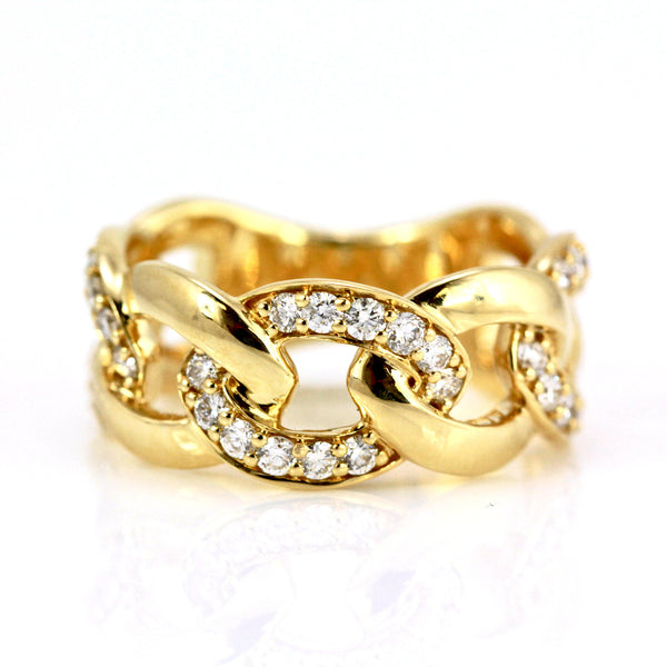 0.63ct Pavé Round Diamonds in 14K Gold Cuban Curb Link Band Ring