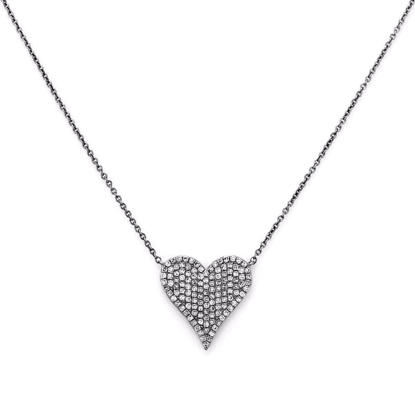 0.39ct Micro Pave Diamonds in 14K Rose Gold Heart Charm Necklace