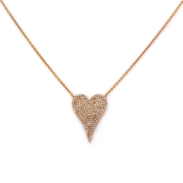 0.52ct Micro Pave Diamonds in 14K Gold Heart Charm Necklace