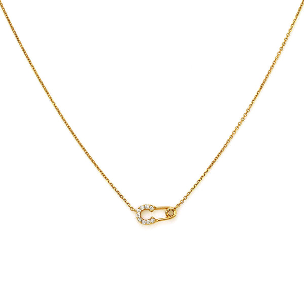 0.12ct Pavé Round Diamonds in 14K Gold Safety Pin Charm Necklace