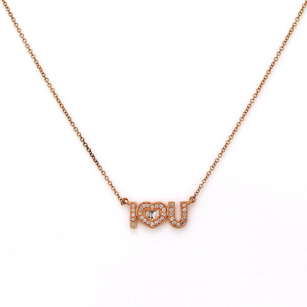 0.22ct Round & Baguette Diamonds in 14K Gold I Love You Nameplate Charm Necklace