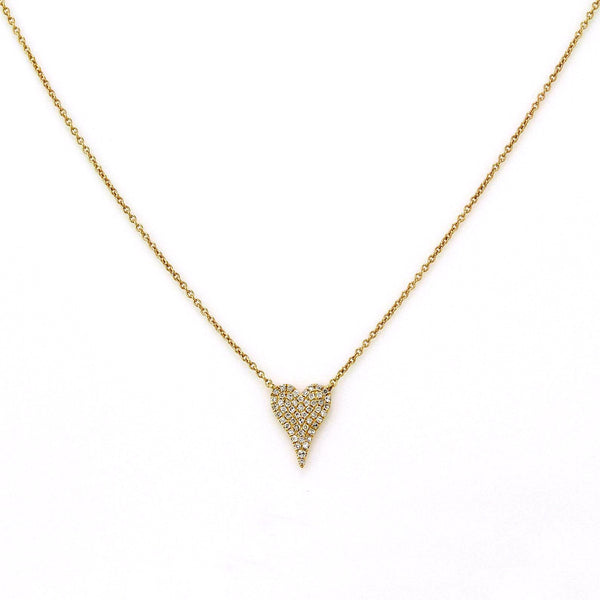 0.13ct Micro Pave Diamonds in 14K Gold Mini Heart Charm Necklace