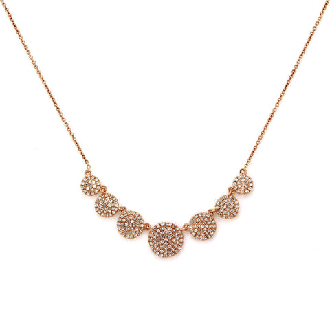 0.68ct Micro Pave Diamonds in 14K Gold Seven Round Disc Link Bib Necklace