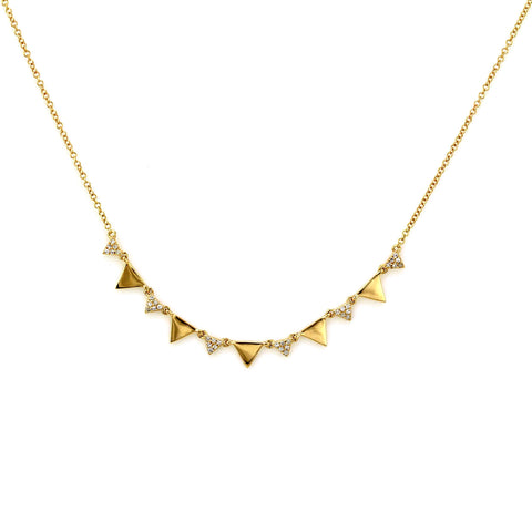 0.10ct Pavé Round Diamonds in 14K Gold Geometric Triangle Chain Princess Necklace