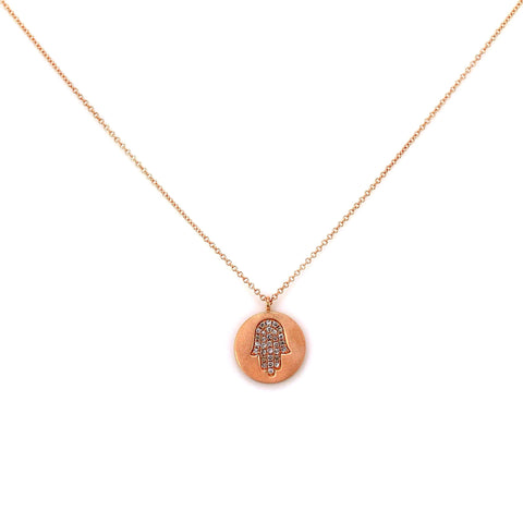 0.11ct Pavé Round Diamonds in 14K Gold Hamsa Hand Mini Medallion Charm Necklace