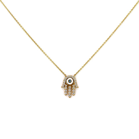 0.24ct Pavé Round Diamonds & Turquoise in 14K Gold Hamsa Hand Mantra Charm Necklace
