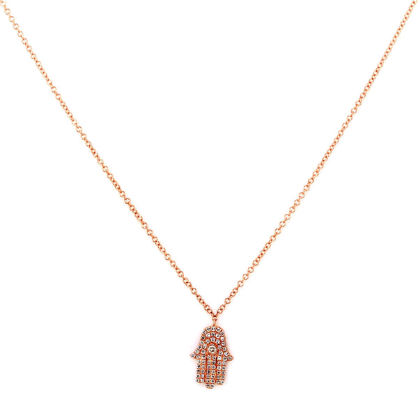 0.17ct Pavé Round Diamonds in 14K Gold Hamsa Hand Spiritual Charm Necklace