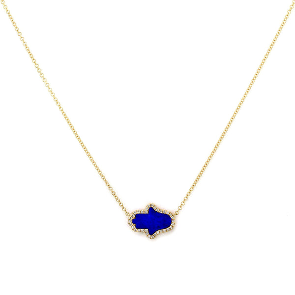 Horizontal Hamsa Lapis Lazuli with Diamonds in 14K Gold Spiritual Charm Necklace