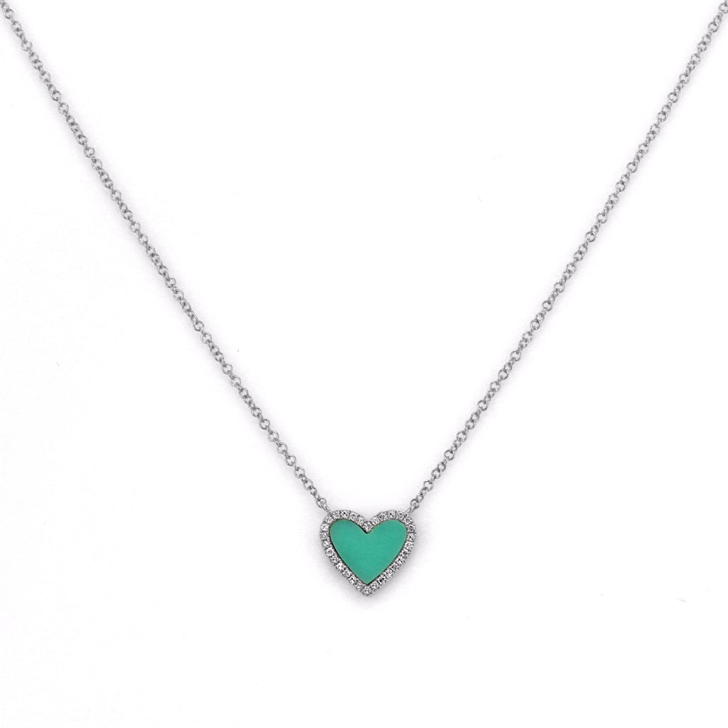 Sleeping Beauty Turquoise with Diamonds in 14K Gold Heart Charm Necklace