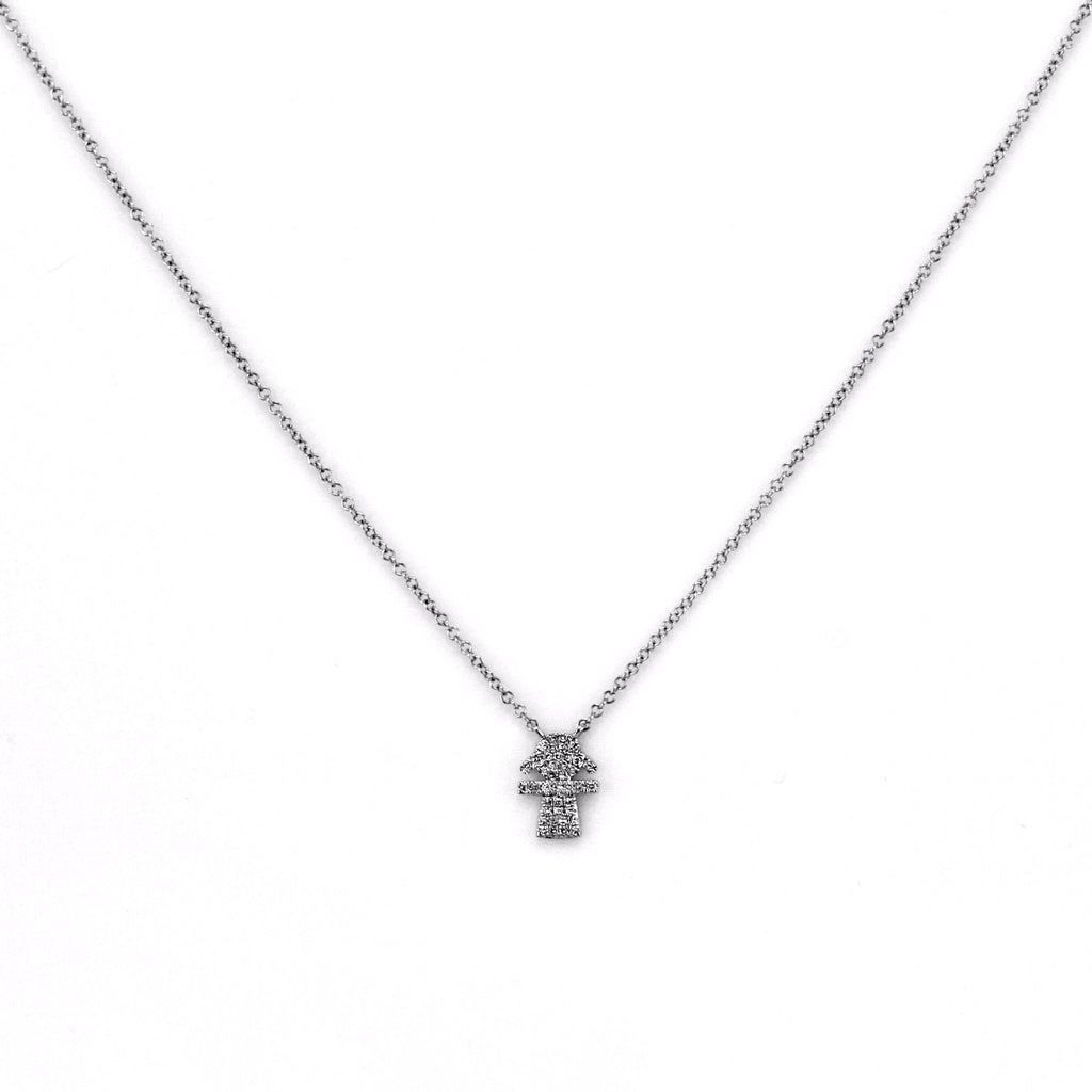 0.08ct Micro Pavé Round Diamonds in 14K Gold Cut-Out Girl Charm Necklace