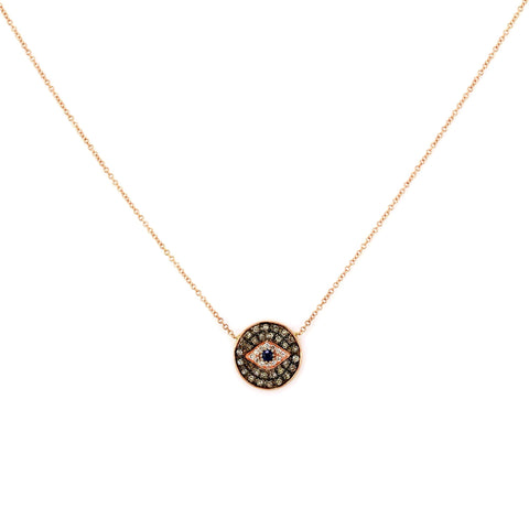 0.20ct Micro Pavé Round Diamonds & Sapphires in 14K Gold Evil Eye Mini Medallion Charm Necklace