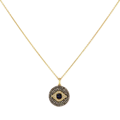 0.51ct Micro Pavé Round Diamonds & Sapphires in 14K Gold Evil Eye Medallion Charm Necklace