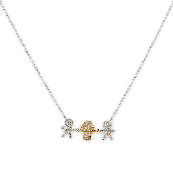 0.22ct Micro Pavé Round Diamonds in 14K Gold Boys & Girl Charm Necklace