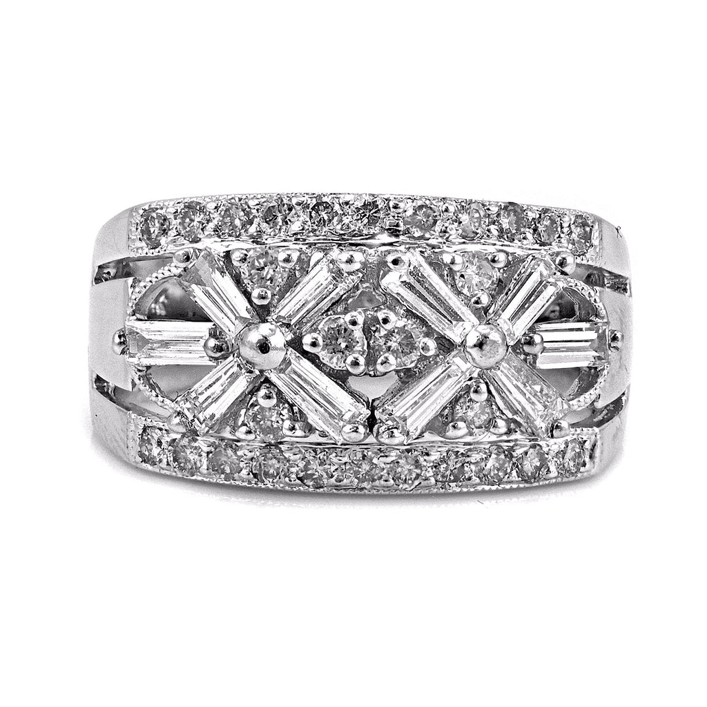 1.05ct Diamonds in 14K White Gold Floral Art Deco Anniversary Ring
