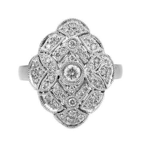 0.79ct Round Diamonds in 14K White Gold Floral Milgrain Victorian Ring