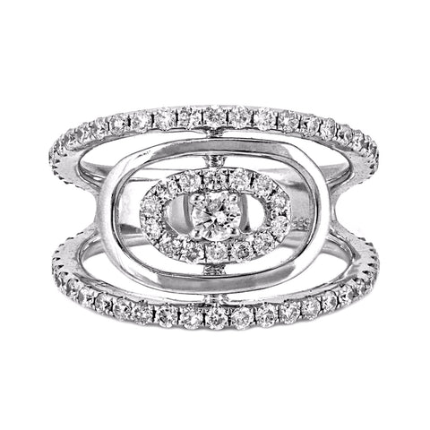 1.02ct Round Diamonds in 14K White Gold Oval Halo Statement Ring