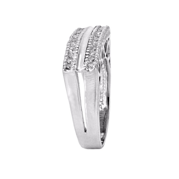 0.20ct Pavé Round Diamonds in 14K White Gold Rectangular Signet Ring