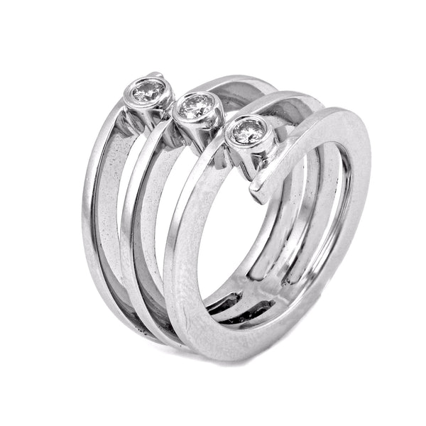 0.26ct Three Diamonds in 14K White Gold Wrap Statement Ring