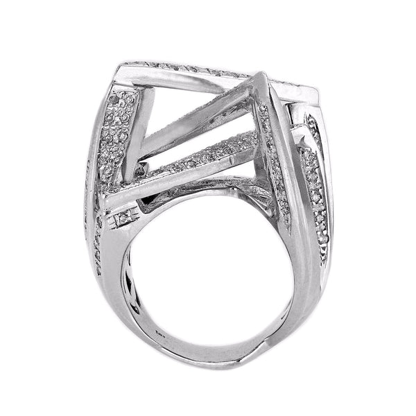1.30ct Pavé Round Diamonds in 14K White Gold Geometric Ring
