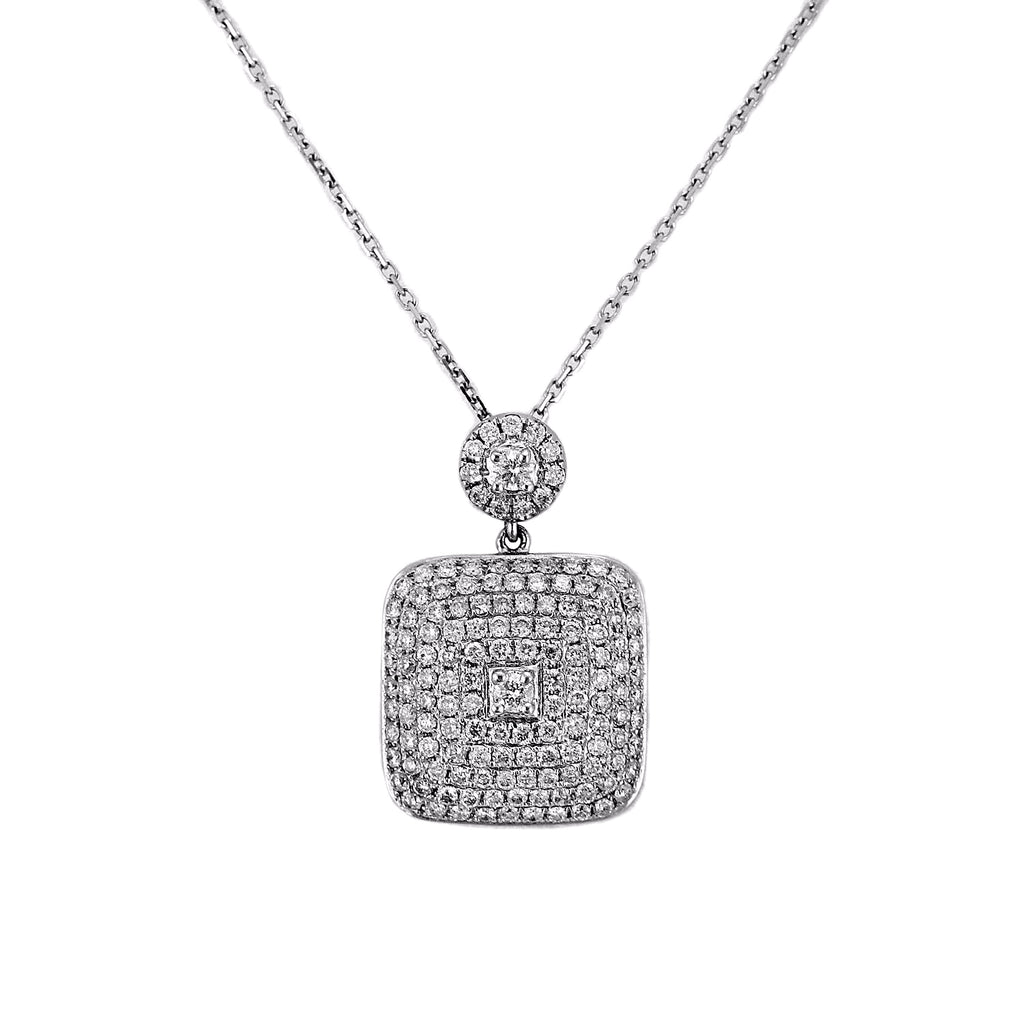 6.00ct Diamonds in 14K White Gold Cushion Pendant Necklace 16""