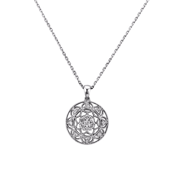0.60ct Diamonds in 14K White Gold Floral Kaleidoscope Milgrain Pendant Necklace 16""