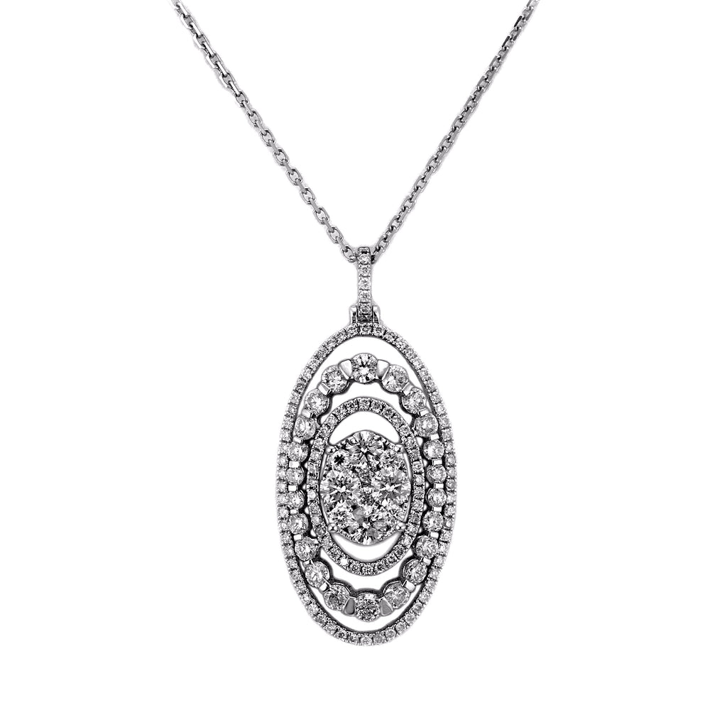 2.17ct Diamonds in 14K White Gold Oval Pendant Necklace 16""