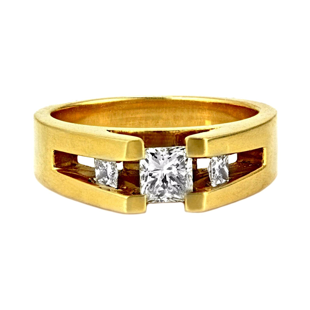 0.60ct Princess Diamonds in 14K Yellow Gold Engagement Tension Ring