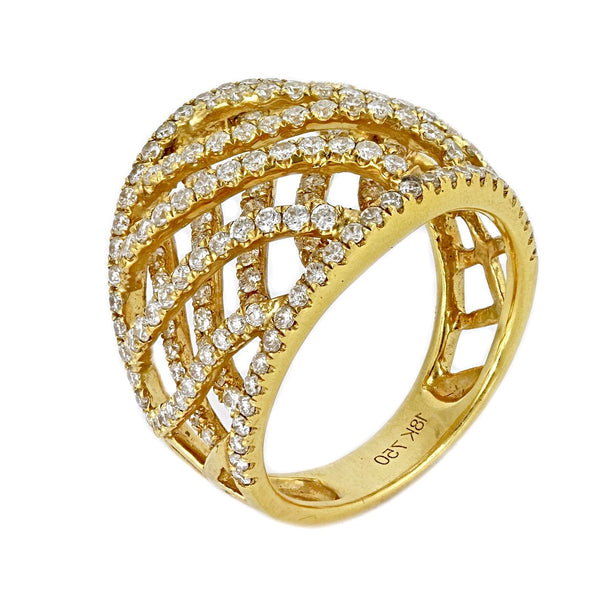 1.25ct Pavé Round Diamonds in 18K Yellow Gold Wide Braided Ring