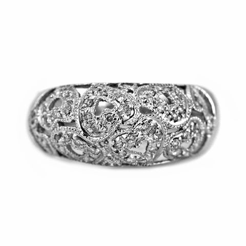 0.25ct Round Diamonds in 14K White Gold Heart Filigree Anniversary Ring
