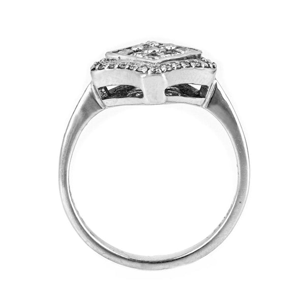 0.90ct Princess & Round Diamonds 18K White Gold Statement Ring