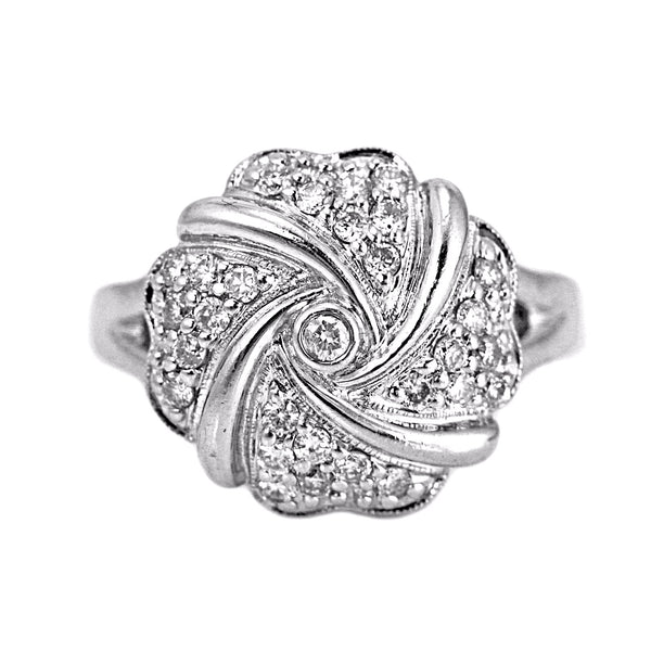 0.35ct Pavé Round Diamonds in 14K White Gold Flower Cocktail Ring