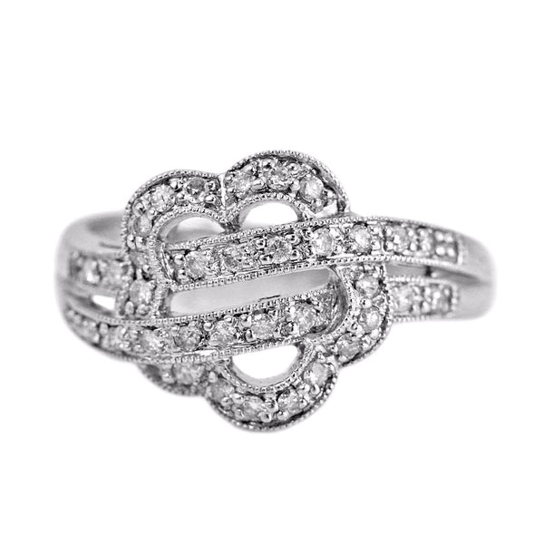 0.30ct Pavé Round Diamonds in 14K White Gold Flower Ring