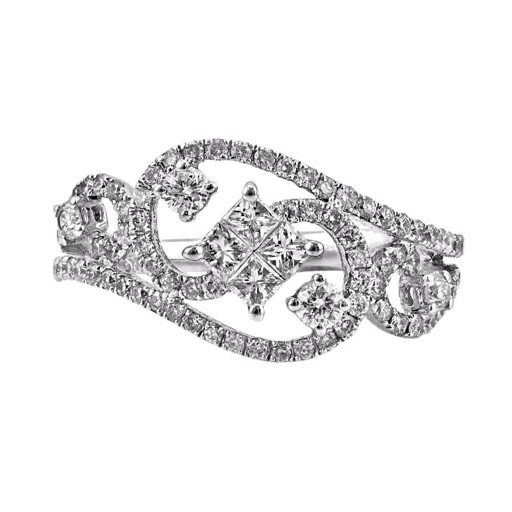 0.85ct Diamonds in 14K White Gold Filigree Engagement Ring
