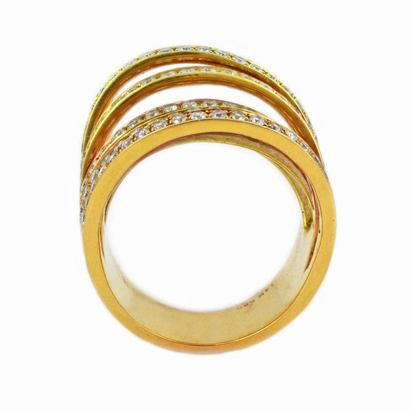 1.65ct Pavé Round Diamonds in 14K Yellow Gold 7-Row Cluster Statement Ring