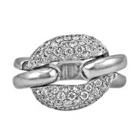 0.88ct Round Pavé Diamonds in 14K White Gold Link Statement Band Ring